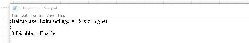 Notepad belkaglazer.ini file